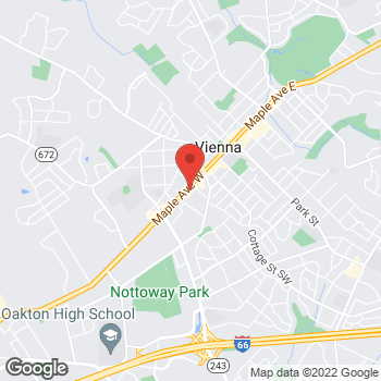 Map of Hair Cuttery at 316 Maple Ave W, Vienna, VA 22180