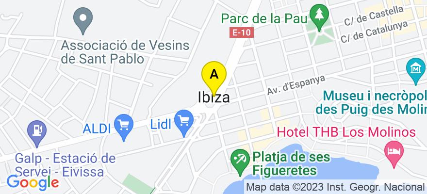 situacion en el mapa de . Direccion: C/ PEDRO FRANCÉS, Nº 9, PALNTA 5, OFICINA 506, 07800 Ibiza. Islas Baleares