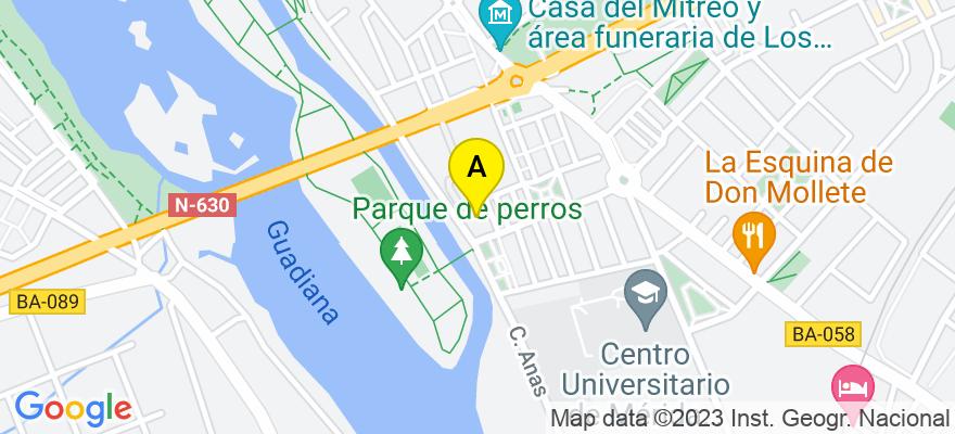 situacion en el mapa de . Direccion: Avenida lusitania n 82,1 A, 06800 Mérida. Badajoz