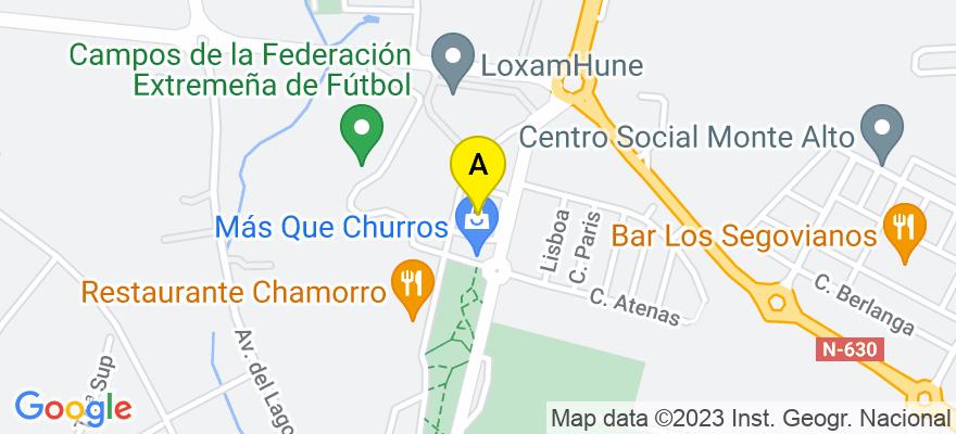 situacion en el mapa de . Direccion: c/comarca de la jara núm. 1, 1 B, 06800 Mérida. Badajoz