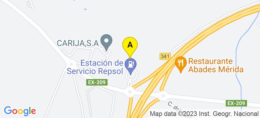 situacion en el mapa de . Direccion: C/ Almendralejo, 16 A 1ª Planta, 06800 Mérida. Badajoz
