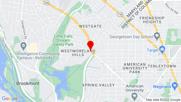 Google Map of 1 Westmoreland Circle, Bethesda, MD 20816