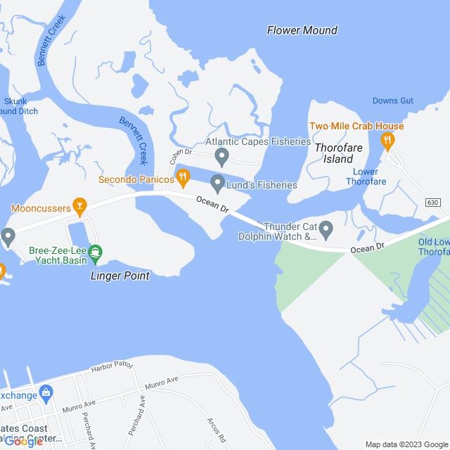 Map of Middle Thorofare bridge