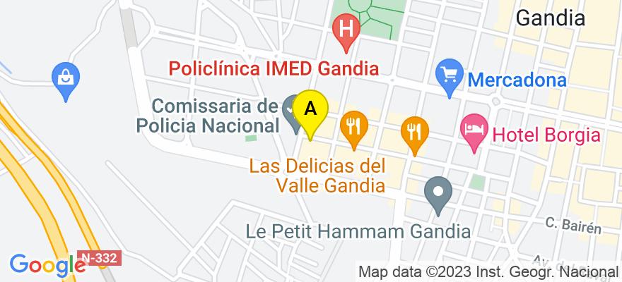 situacion en el mapa de . Direccion: C/ Madrid, 39, 46702 Gandia. Valencia