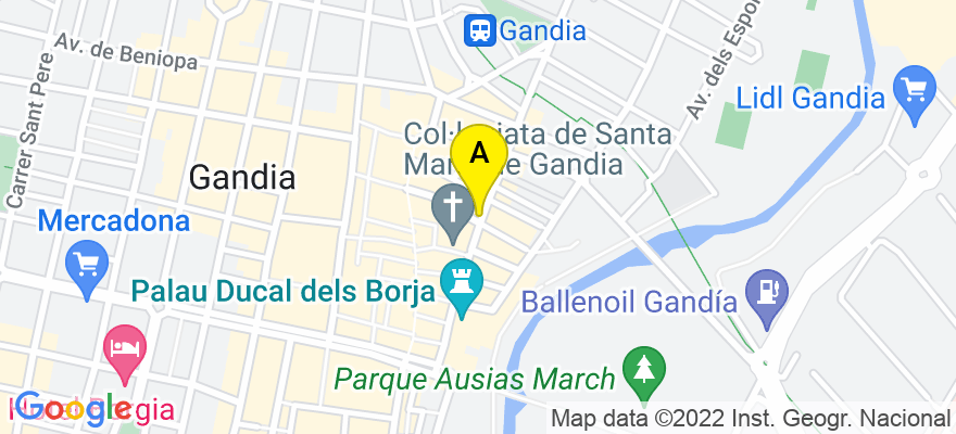situacion en el mapa de . Direccion: C/ San Pascual,11, 1º, 46701 Gandia. Valencia