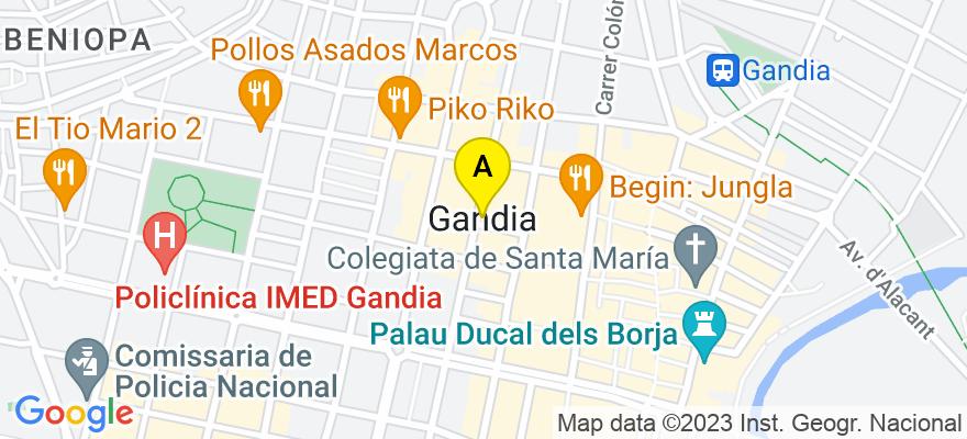 situacion en el mapa de . Direccion: c/Ciudad de Laval, nº 33-Entlo.A, 46700 Gandia. Valencia