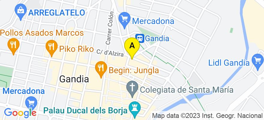 situacion en el mapa de . Direccion: Alfaro, 2-2º-3ª, 46701 Gandia. Valencia