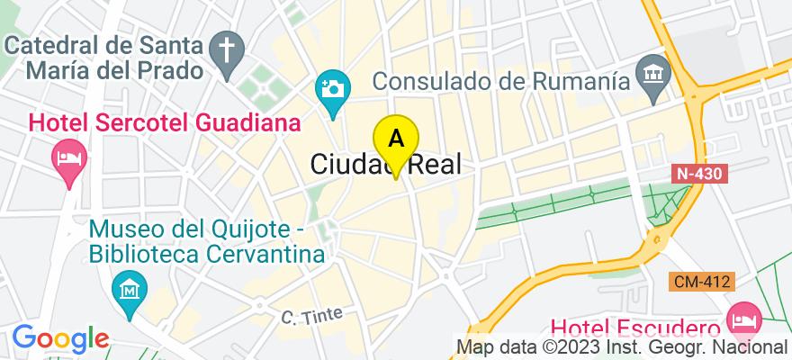 situacion en el mapa de . Direccion: Calle Tinte, 6, 2º B, 13001 Ciudad Real. Ciudad Real