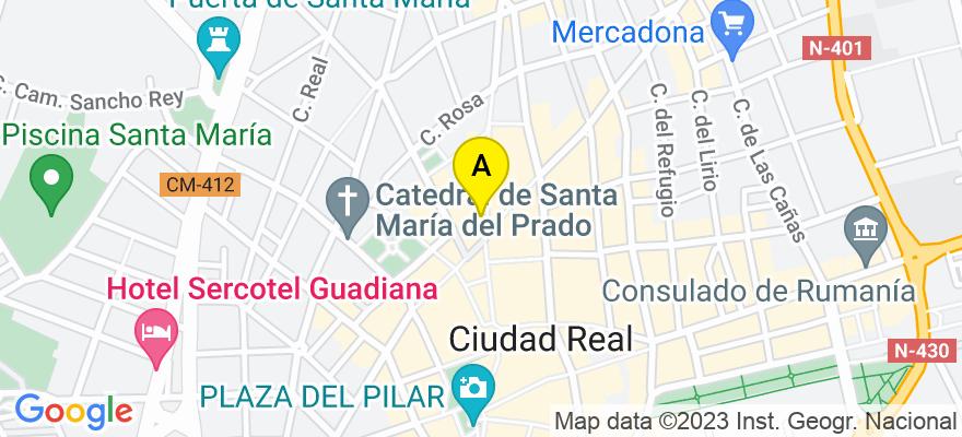 situacion en el mapa de . Direccion: Calle Toledo, 5, 13005 Ciudad Real. Ciudad Real