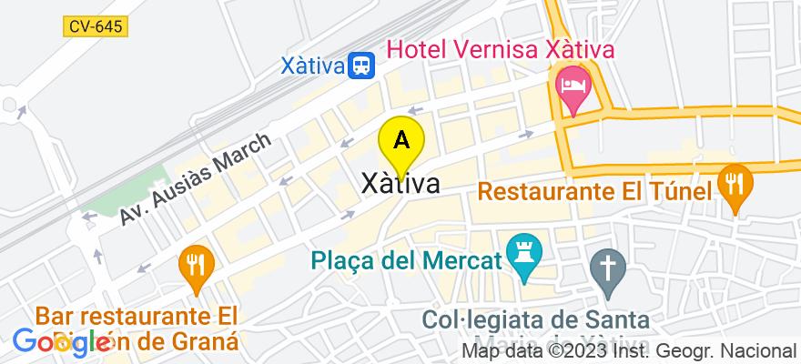 situacion en el mapa de . Direccion: Baixada de l'estació Nº 2- 4 - 7, 46800 Xàtiva. Valencia