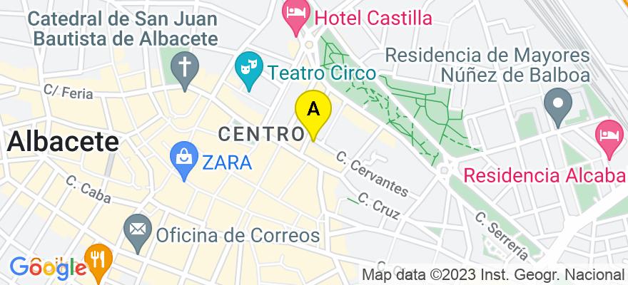 situacion en el mapa de . Direccion: Cervantes,2, 02001 Albacete. Albacete