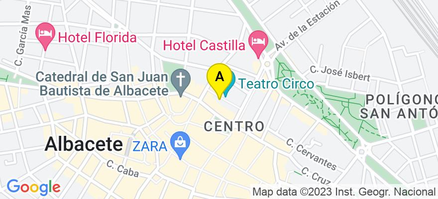 situacion en el mapa de . Direccion: C/ Isaac Peral, 9, 4º, 02001 Albacete. Albacete