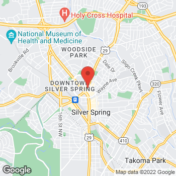 Map of Guitar Center Lessons at 8661 Colesville Rd, Silver Spring, MD 20910