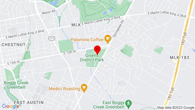 Google Map of 3811 E 12th Street, Austin, TX 78721