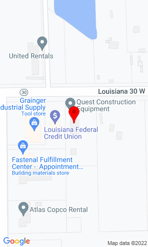 Google Map of Quest Construction Equipment, LLC 38297 Hwy 30, Baton Rouge (Gonzales), LA, 70737