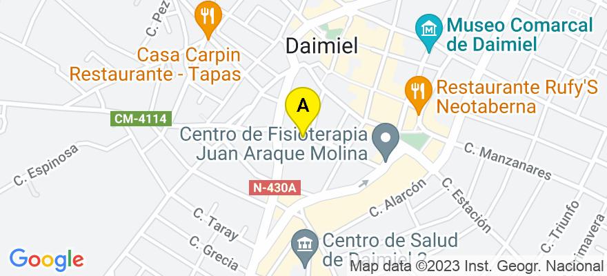 situacion en el mapa de . Direccion: C/ Magdalena nº 15 b, 13250 Daimiel. Ciudad Real