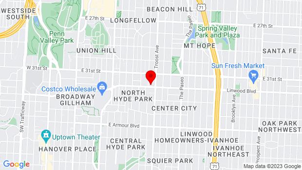 Google Map of 1006 Linwood Blvd, Kansas City, MO 64109