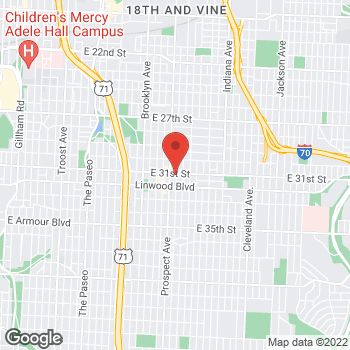 Map of Citi Trends at 3101 Prospect Ave, Kansas City, MO 64128