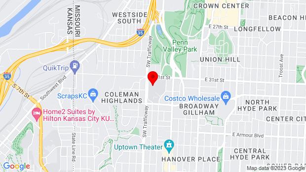 Google Map of 3201 Southwest Trafficway, Kansas City, MO 64111