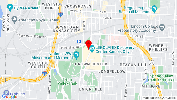 Google Map of Crown Center Shops, Level 3 2450 Grand, Kansas City, MO 64108