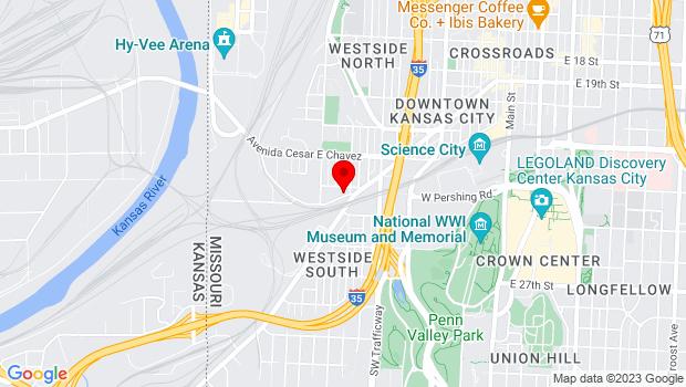 Google Map of 1000 W 25th Street, Kansas City, MO 64108