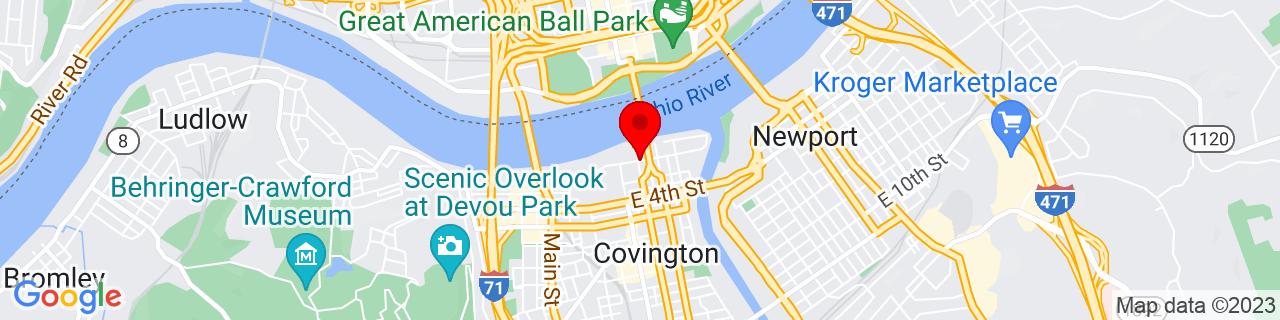 Google Map of 39.0897775, -84.50996710000001