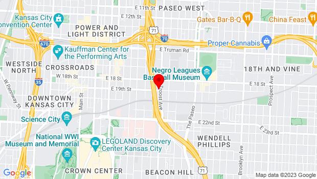 Google Map of 1014 E. 19th St, Kansas City, MO 64108