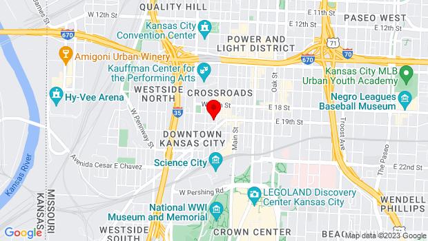 Google Map of 1920 Wyandotte Unit 5, Kansas City, MO 64108