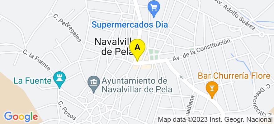 situacion en el mapa de . Direccion: AVDA. CONSITUCIÓN, 15-1º, 06760 Navalvillar de Pela. Badajoz
