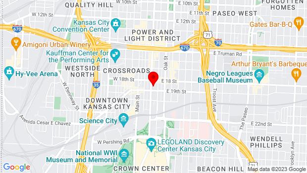 Google Map of 1819 Grand Blvd, Kansas City, MO 64108