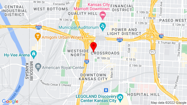 Google Map of 1664 Broadway Blvd, Kansas City, MO 64108
