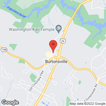 Map of Burger King at 15703 Columbia Pike, Burtonsville, MD 20866