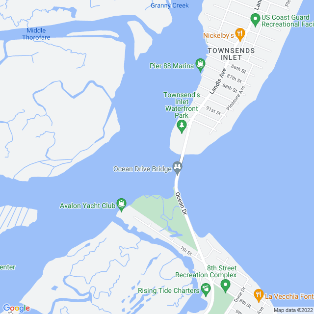 Map of Townsends Inlet Bridge