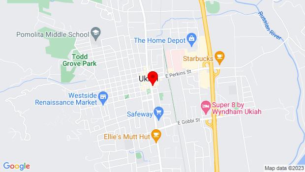 Google Map of 205 South State St, Ukiah, CA 95482