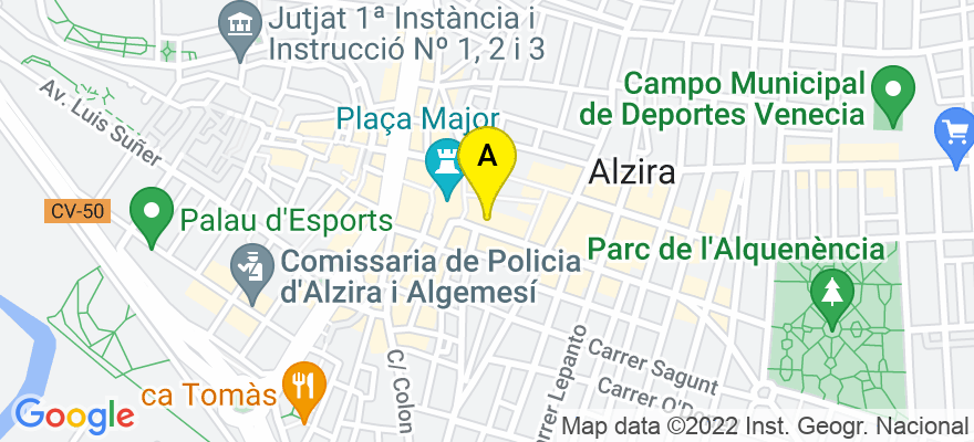 situacion en el mapa de . Direccion: Calle Benito Pérez Galdós, nº 19-1, 46600 Alzira. Valencia
