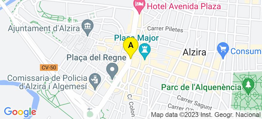 situacion en el mapa de . Direccion: Avda. Sants Patrons, 30, 46001 Alzira. Valencia