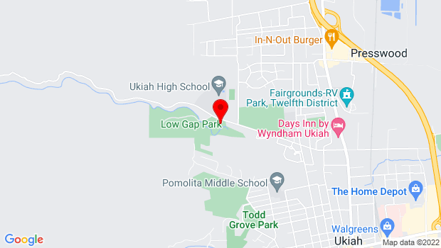Google Map of 1041 Low Gap Road, Ukiah, CA 95482