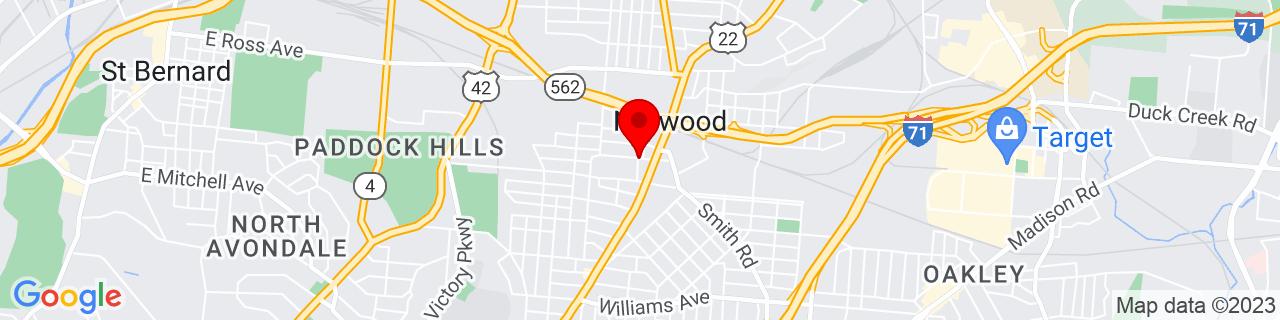 Google Map of 39.161944444444444, -84.45694444444445