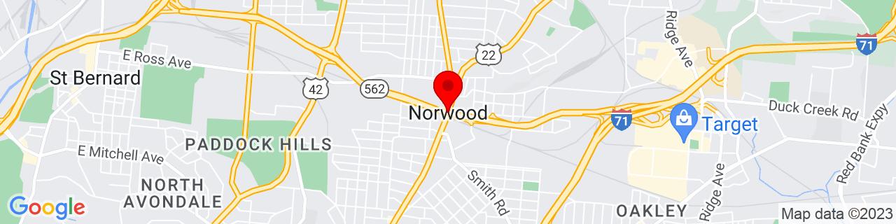 Google Map of 39.1644798, -84.4542798