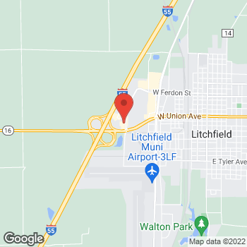 Map of Arby's at 3 Corvette Dr, Litchfield, IL 62056-1090
