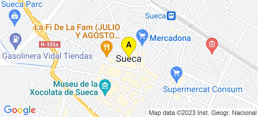 situacion en el mapa de . Direccion: calle Fillola 40,bajo1, 46410 Sueca. Valencia
