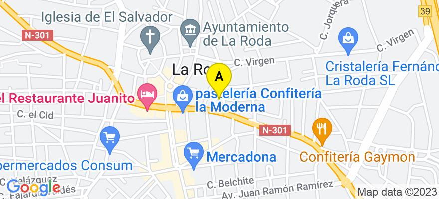 situacion en el mapa de . Direccion: C/ NUEVA Nº 30, 1º, 02630 La Roda. Albacete
