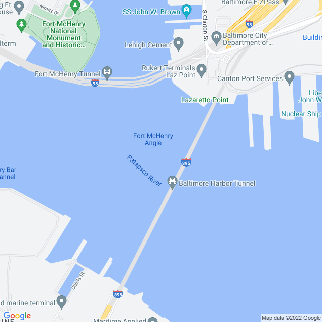 Map of Baltimore Harbor Throughway (I 895) Tunnel
