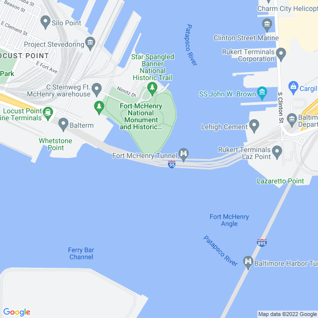 Map of Fort McHenry (I 95) Tunnel