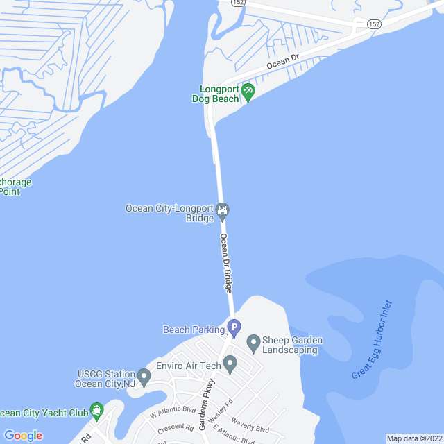 Map of Ocean City Longport Bridge