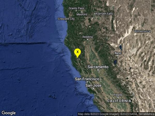 earthquake 10km ESE of Willits, CA