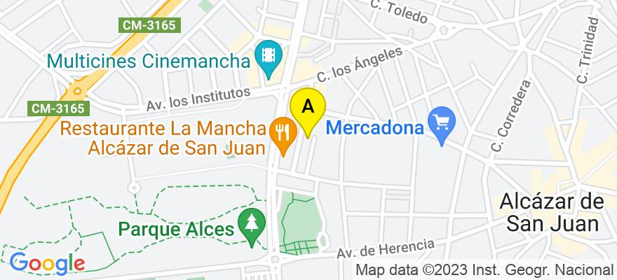 situacion en el mapa de . Direccion: C/ JUAN CARLOS I, nº 8, 2º a-1, 13600 Alcázar de San Juan. Ciudad Real