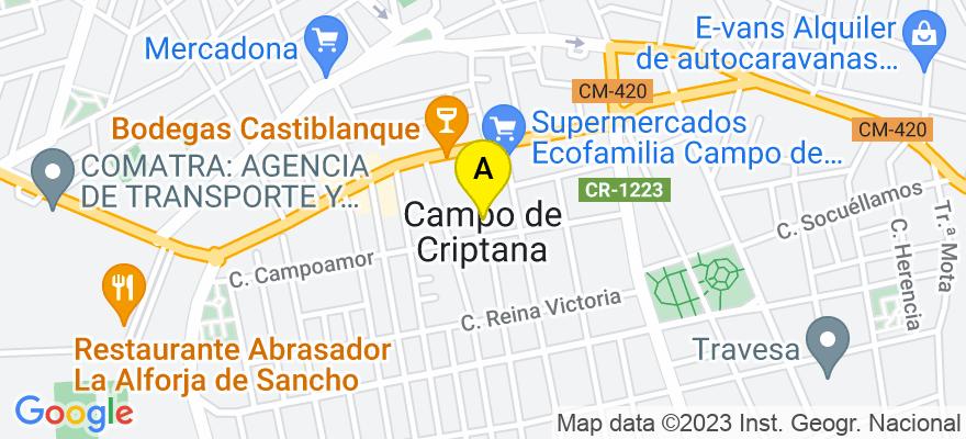 situacion en el mapa de . Direccion: Reina Cristina número 47 bajo derecha, 13610 Campo de Criptana. Ciudad Real