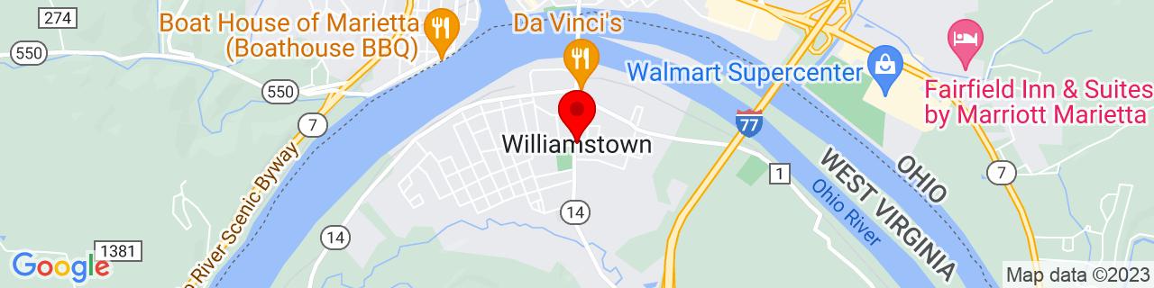 Google Map of 39.4006299, -81.4481766
