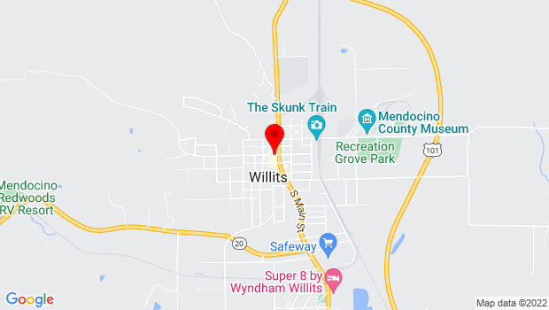 Google Map of 15 W. Mendocino Ave, Willits, CA 95490
